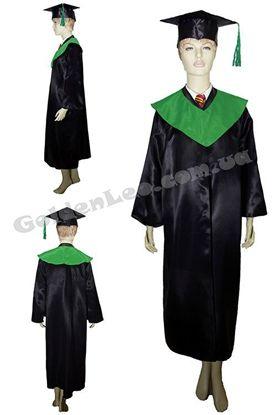 Зображення Мантія випускника чорна з зеленим коміром