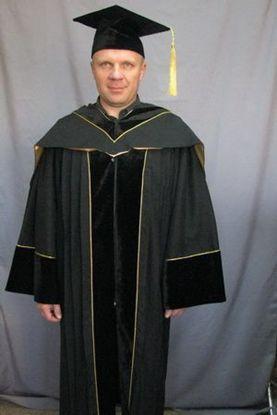 Мантия профессора черная с бархатом