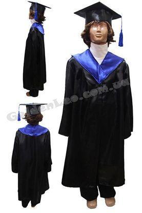 Детская мантия черная с синим рост 140
