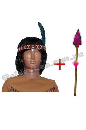 Набор индейца копье, повязка с пером