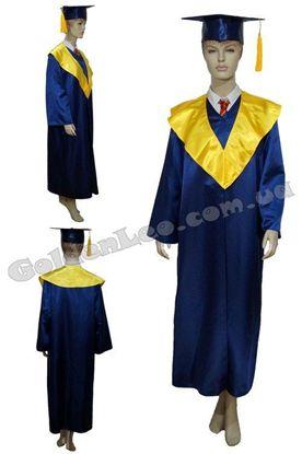 Зображення Мантія випускника синя з жовтим коміром