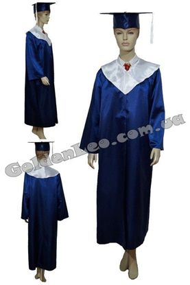 Изображение Мантия выпускника синяя с белым воротником