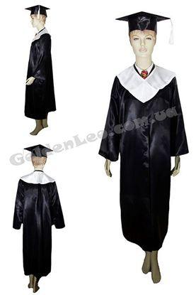 Зображення Мантія випускника чорна з білим коміром