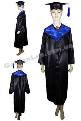 Зображення Костюм випускника чорний з синім коміром