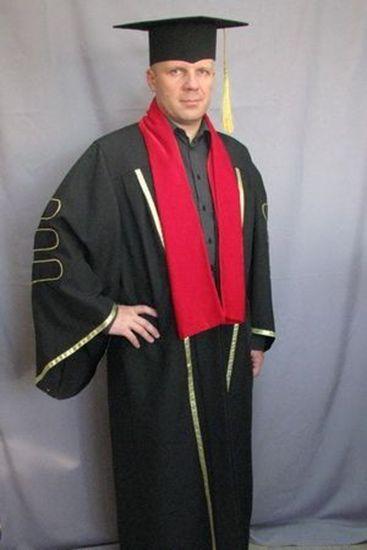 Мантия профессора черная с шевронами