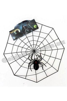 Паутина пластик с пауком на Хэллоуин