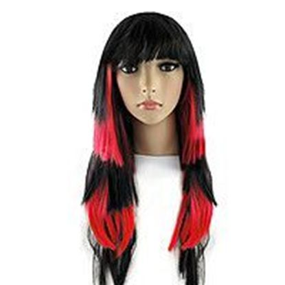 перука чорно-червоне волосся
